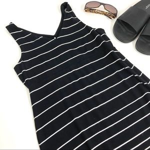 Athleta Black and White Striped Tank Mini Dress XS